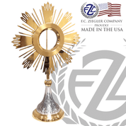Monstrance Ostensoria 24k Gold Lacquered 28 Inch Height Holds 5 and 3 quarter Host Ziegler Made In Usa ZZM7