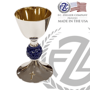 Chalice & Paten | 12-Oz | Brass | Silver Plate | Blue Node  Accent | 458 | USA