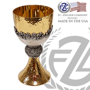 16 ounce brass chalice with hammered gold outer finish and smooth high polish inner finish features cast brass over cup with grape accents stands 7 inches high made in U S A by F C Ziegler ZZ485