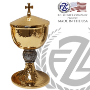 Ciborium made with Brass and 24k Gold Plate Hammered Finish with Grape Design resin Node Cross On Lid Ziegler Made In Usa ZZ490250