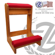 Prie Dieu single kneeler measures 24 by 33 by 21 inches made of oak and red fabric made in U S A by F C Ziegler ZZ2624