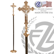 15 inch Processional Crucifix in combo silver and gold finish with 88 inch shaft in black and gold vein finish with 12 inch diameter base made in U S A by F C Ziegler 2910