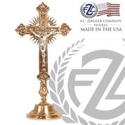 Altar Crucifix made of brass with combination high polish and satin gold and silver finish measures 27 and 1 half inches made in U S A by F C Ziegler ZZ2913