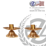 pair of brass altar candlesticks stand 3 inches high with combination satin and high polish finish comes outfitted with 1 and 1 half inch sockets made in U S A  by F C Ziegler ZZ2914