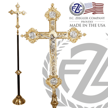 24 inch Processional Crucifix in combination silver and gold finishes with 88 inch shaft in black and gold vein finish with 12 inch diameter base made in U S A by F C Ziegler 2920