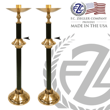 pair of brass processional candlesticks measures 40 inches with combination high polish satin and powder-coat finish comes with 12 inch base made in U S A  by F C Ziegler ZZ2922