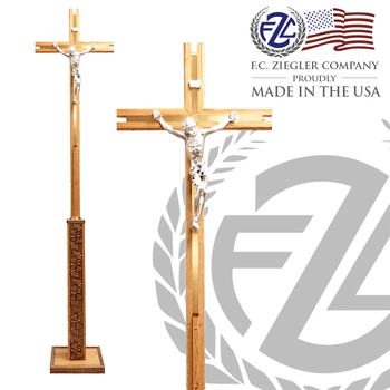 Processional Cross Wood Construction with Grape and Leaf Wood Panels 77 inches Height Ziegler Made In Usa ZZ4701