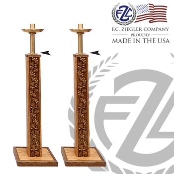 pair of brass processional candlesticks measures 44 inches high with wood stand embellished with grapes and leaves made in U S A  by F C Ziegler ZZ4703