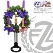 Church Advent Floor Wreath measures 48 inches in diameter made of brass with black finish with 5 sockets made in U S A  by F C Ziegler ZZ6925