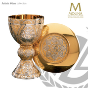 Tassilo chalice with paten in choice of there metals with two tone gold and silver plate finish made in spain by artistic silver AS2330.png