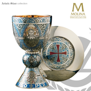 Tassilo chalice and paten measures 8 inches by 4 and 1 half inches holds 20 ounces made of silver with cloissone in spain by artistic silver AS2332CPFESSG