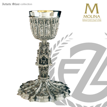 gothic chalice and paten 10 and 3 eighths inches by 4 inches holds 13 ounces made of silver in spain by artistic silver AS2392CPSSG