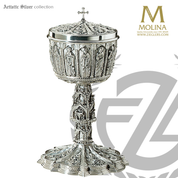 Gothic lidded ciborium measures 11 and 1 half inches by 6 and 7 eighths inches accommodates  350 hosts made of sterling silver with gold lining in spain by artistic silver AS2393