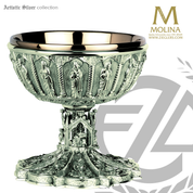 Gothic open ciborium 5 and 1 half inches by 7 inches accommodates  370 hosts made of silver in spain by artistic silver AS23922CBOSS