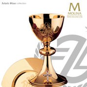 12 apostles covered ciborium 10 and 1 eighth inches by 5 inches accommodates  200 hosts with choice of 3 compositions made in spain by artistic silver AS213201CBL