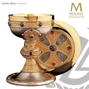 ardagh chalice and paten 7 and 3 quarter inches by xx celtic design with aubochons and garnets in choice of 2 compositions made in spain by artistic silver AS2728