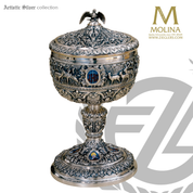 evangelists covered ciborium 13 and 1 half inches high with 750 host capacity highly detailed scrollwork and ornamentation silver plate with 24 k gold lining in bowl spain by artistic silver AS193cwrspgl