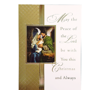 "Holy Family Embossed Mass Card Christmas Box of 25 Size 4-7/8"" x 6-3/4"" BCCX256"