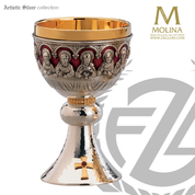 20 ounce Last Supper chalice stands 7 and 1 eighth inches high with Christ and apostles in choice of 3 compositions includes a paten made in spain by artistic silver as2658