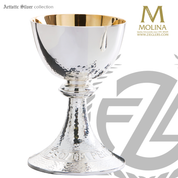 Hammered surface chalice stands 7 and 1 half inches high with high polish silver plate finish includes a paten made in spain by artistic silver as2495