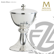 covered ciborium with hammered silver finish with 200 host capacity made in spain by artistic silver AS2496CBSP
