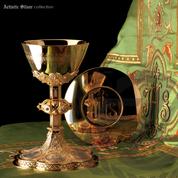"Gothic Chalice & Paten 8-3/4"" x 4-7/8"" 6 Medallions 14 Oz 2440 Spain"