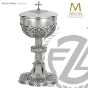 gothic style covered ciborium stands 10 and 3 quarters inches with 180 host capacity with choice of 3 compositions made in spain by artistic silver AS2391