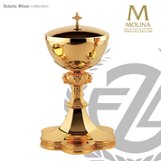 covered ciborium stands 9 and 1 half inches high with 200 host capacity in simple gothic design with 24 karat gold plate finish made in spain by artistic silver AS2791CBBRGP