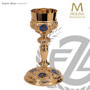 8 ounce 4 evangelists chalice stands 9 inches high with enameled medallions in choice of 3 compositions includes a paten made in spain by artistic silver as2936