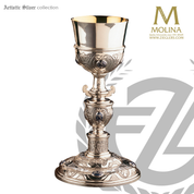 10 ounce plateresque chalice stands 9 and 1 quarter inches high with spanish style design in choice of 2 compositions includes a paten made in spain by artistic silver AS2920