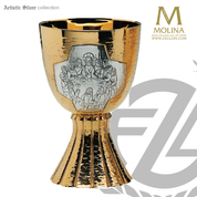 17 ounce Last Supper chalice stands 6 and 1 half inches high with two tone silver and gold finish in choice of 2 compositions includes a paten made in spain by artistic silver AS2955