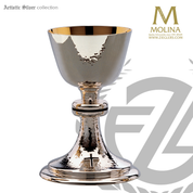 12 ounce Classic Style chalice stands 7 and 1 quarter inches high with with black enamel accents includes a paten made in spain by artistic silver AS2652