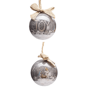 Joy To the World Christmas Ornament | Silver | Bow | Polyfoam | 3"