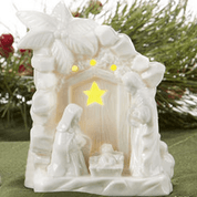 1 Piece Lighted Nativity Figurine | Porcelain | White | LED | 4-1/2"