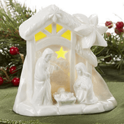 1 Piece Lighted Nativity Figurine | Porcelain | White | 4-1/2"