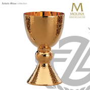 18 ounce Bavarian hand hammered chalice stands 7 and 1 eighth inches high with  in choice of 3 compositions includes a paten made in spain by artistic silver AS2736