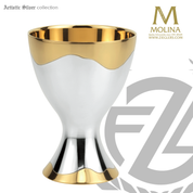 contemporary chalice measures  6 inches and holds 15 ounces with two tone 24 karat gold and silver plate finish made in spain by artistic silver AS2710
