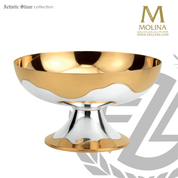 Contemporary open ciborium with two tone 24k gold and silver plate finish available in 2 sizes made in spain by artistic silver AS2712