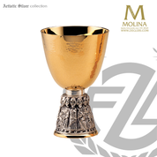 14 ounce apostles chalice stands 6 and 1 half inches high with two tone gold and silver finish includes a paten made in spain by artistic silver AS2923CPBRGS