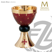 14 ounce Precious Blood chalice stands 6 and 1 half inches high with red enamel background in choice of 2 compositions includes a paten made in spain by artistic silver AS2818