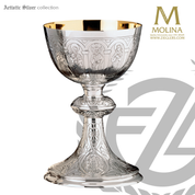 18 ounce apostles and evangelists chalice measures 7 and 1 half inches high with hand engraving made in spain by artistic silver AS1000CSS