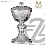 Apostles and evangelists covered ciborium stands 9 and 1 quarter inches high with 250 host capacity sterling silver made in spain by artistic silver AS100001CBSS