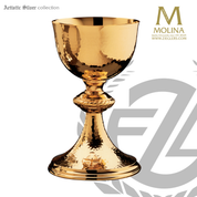 14 ounce traditional chalice measures  7 and 5 eighths inches high with hand chased rope accent made in spain by artistic silver AS1019CSSGP