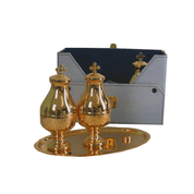 Chrismatory Set Tray and Case Included Gold Finish 17593 Italy