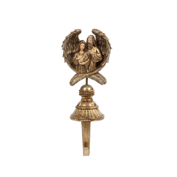 """Stocking Holder Holy Family in Angel Wings Gold Toned 10"""""""
