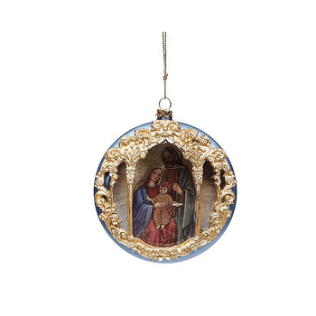 """Holy Family Blue with Gold Accents Round Christmas Ornament 4"""" MAR3672500A"""