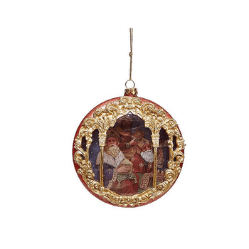 """Three King Red with Gold Accents Round Christmas Ornament 4"""" MAR3672500B"""
