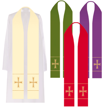 Gold Cross Priest Stole Embroidered Available in 4 Colors HF0020