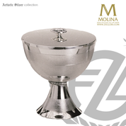 Modern style covered ciborium stands 7-5/8 inches high with 750 host capacity with silver plate finish made in spain by artistic silver AS1128CBLSPGL