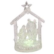 "Nativity Figurine Holy Family Lighted 4.75"" Silver Acrylic GER2358570A"